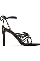 Balmain Mikki Knotted Leather Sandals Black
