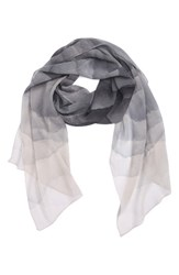 Nordstrom Women's Prismatic Color Play Oblong Silk Scarf Grey Combo