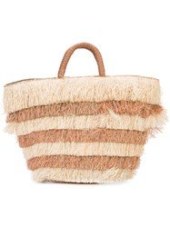 Kayu Layered Fringed Beach Tote Women Straw One Size Brown