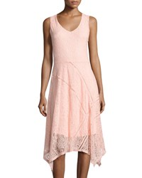 Neiman Marcus V Neck Ladder Stitch Lace Dress Blush