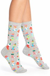 Women's Hot Sox 'Christmas Stockings' Crew Socks Sweatshirt Grey Heather