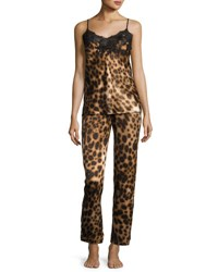 Natori Leopard Print Two Piece Camisole Set Natural