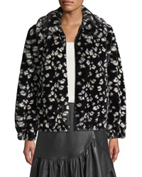 Rebecca Taylor Zip Front Cheetah Faux Fur Bomber Jacket Black Combo