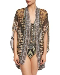 Camilla Open Front Embellished Silk Cardigan Cape Coverup Weave Of The Wild