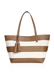 Michael Michael Kors Striped Coated Canvas Large East West Tote Natural