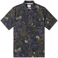 Norse Projects Short Sleeve Carsten Floral Print Vacation Shirt Blue