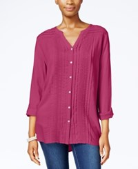 Jm Collection Lace Trim Pintucked Shirt Only At Macy's Steel Rose