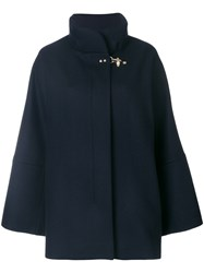Fay Flared Concealed Placket Coat Women Acrylic Polyamide Viscose Virgin Wool S Blue