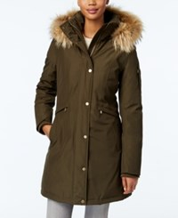Michael Kors Asiatic Raccoon Fur Trim Parka Olive