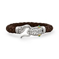 Snake Bones Leather Bracelet In Silver 18Kt Gold And Turqoise Silver Brown