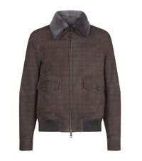 Brioni Shearling Lined Leather Bomber Jacket Male Taupe