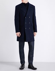 Gieves And Hawkes Double Breasted Wool Coat Navy Bordeux