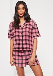 Missguided Pink Checked Shirt And Shorts Pyjama Set