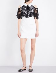 Self Portrait Lace Overlay Woven Mini Dress Black White