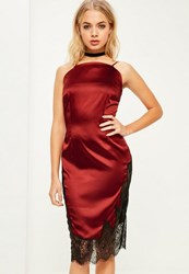 Missguided Red Silky Eyelash Lace Embroidered Midi Dress Burgundy