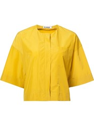 Jil Sander Collarless Cropped Jacket Yellow Orange