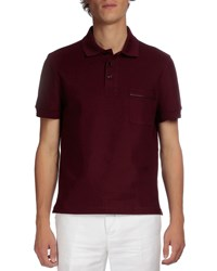 Berluti Short Sleeve Polo With Leather Detail Wine Red
