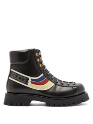 Gucci Oliver Web Stripe Leather Hiking Boots Black