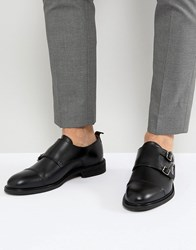 Selected Homme Leather Double Monk Shoes Black