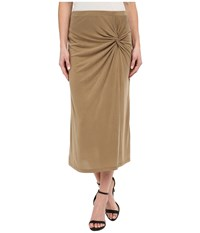 Bobeau Side Knot Midi Skirt Moss Women's Skirt Green