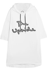 The Upside Embroidered Cotton Jersey Hooded Top White