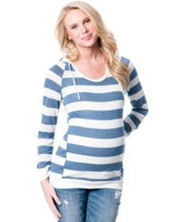 Motherhood Maternity Striped Pullover Hoodie