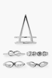 Boohoo Annabelle Geometric Ring Pack Silver