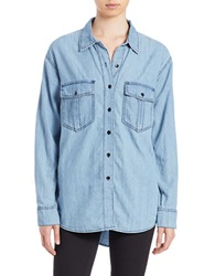 Free People Chambray Button Down Shirt Blue