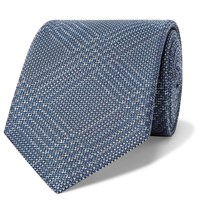 Brioni 8Cm Prince Of Wales Checked Silk And Virgin Wool Blend Tie Blue