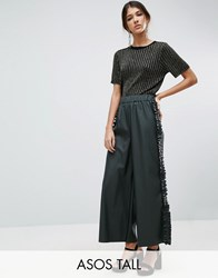 Asos Tall Frill Side Leather Look Culotte Trousers Khaki Green