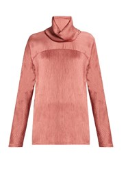 Sies Marjan High Neck Crinkled Satin Top Light Pink
