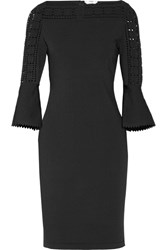 Fendi Pointelle Trimmed Stretch Knit Dress Black