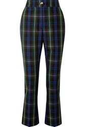 Msgm Button Detailed Checked Twill Straight Leg Pants Navy