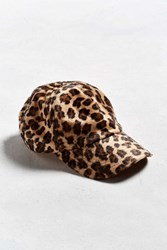 Urban Outfitters Uo Leopard Baseball Hat Brown