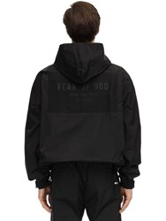 Fear Of God Logo Hooded Nylon Zip Up Jacket Black