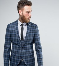 Noose And Monkey Super Skinny Suit Jacket In Check Blue