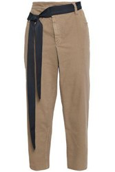 Brunello Cucinelli Woman Belted High Rise Tapered Jeans Sand