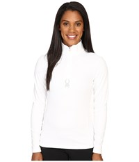 Spyder Shimmer Bug Velour Fleece T Neck Top White Women's Long Sleeve Pullover