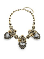 Natasha Handset Antique Floral Station Necklace Antique Gold