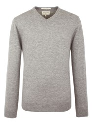 Racing Green Men's Fletcher V Neck Knit Grey Marl