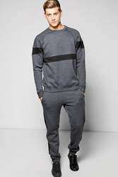 Boohoo Panelled Tracksuit Charcoal