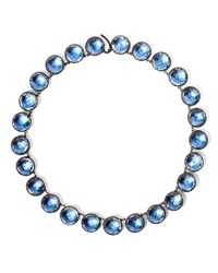 Larkspur And Hawk Olivia Button Riviere Necklace In Azure Foil