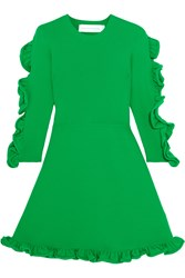 Victoria Beckham Ruffle Trimmed Ribbed Knit Mini Dress Green