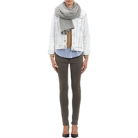 Barneys New York Cashmere Knit Shawl Gray