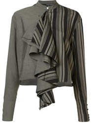Isabel Benenato Cropped Ruffle Blouse Grey