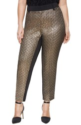 Plus Size Women's Eloquii Studio 'Kady' Metallic Jacquard Front Ankle Pants