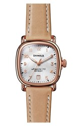 Shinola The Guardian Leather Strap Watch 36Mm Natural Mop Rose Gold