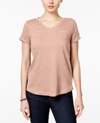 Styleandco. Style Co Petite V Neck Pocket T Shirt Created For Macy's Crushed Petal