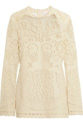 See By Chloe Open Knit Cotton Blend Top Off White