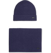 Hugo Boss Ribbed Cashmere Beanie And Scarf Set Navy
